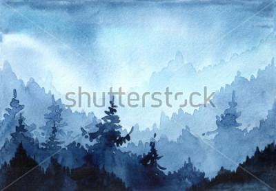Obraz Dłoń akwarela ciągniona ilustracja z zimowego lasu. Zimowy pejzaż z choinek. kartka świąteczna