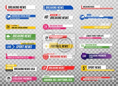 Obraz Dolny trzeci szablon. Zestaw banerów telewizyjnych i barów dla wiadomości i kanałów sportowych, transmisji strumieniowej i transmisji. Kolekcja niższej trzeciej do edycji wideo