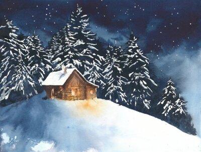 Dom kabiny w lesie w lesie akwareli malowanie ilustracja karty z pozdrowieniami Christmas