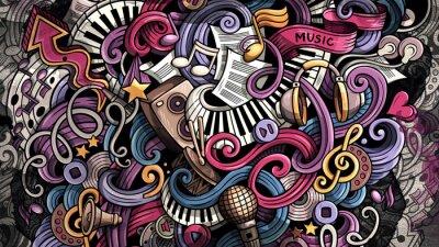 Obraz Doodles Music illustration. Creative musical background