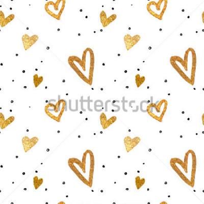 Obraz Dostępny wzór w złotych sercach. Odrysowywać odręcznie szczotkarskiego stylu. Obejmuje kruszcowa ilustracja.