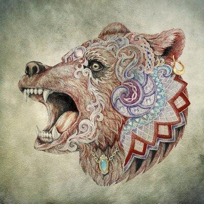 Obraz Dotwork, tatuaż, szef rozwścieczony niedźwiedź