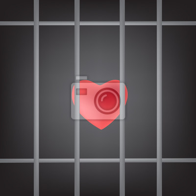 Obraz dramatic red heart was Imprisoned  in prison bars, vector illustration