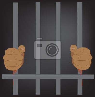 Obraz dramatyczne ręce trzyma barów więzienia z krwi na czarnym tle, ilustracji wektorowych