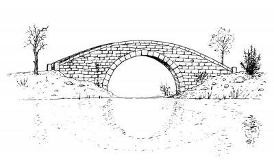 Obraz Drawing of classic stone bridge - black and white illustration