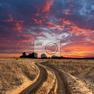 Droga w stepie na zachodzie słońca