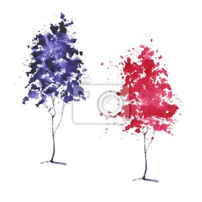 Drzewa akwarela (różowy i fioletowy).