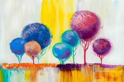 Obraz Drzewa, malarstwo olejne, tło artystyczne