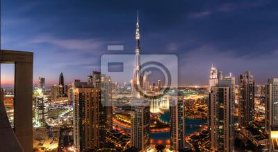 Obraz Dubai downtown after sunset panorama