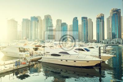 Obraz Dubai Marina o zachodzie słońca, w Zjednoczonych Emiratach Arabskich