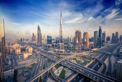 Obraz Dubai skyline wieczorem