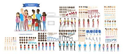 Obraz Duży rodzinny zestaw znaków dla animacji