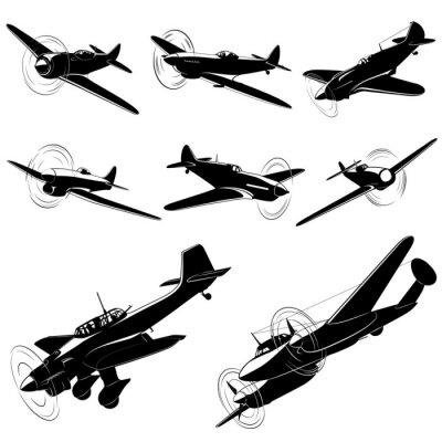 Obraz Duży zestaw sylwetki wektor starych myśliwców