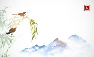 Obraz Dwa małe ptaki, gałąź bambusa i daleko niebieskie góry. Tradycyjne orientalne malarstwo tuszem sumi-e, u-sin, go-hua. Hieroglif - wieczność.