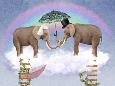 Obraz Dwa słonie w miłości z parasolami.