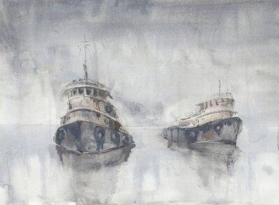 Obraz Dwie łodzie w morzu. Mglista pogoda. Deszcz. Morze. Statek Fishind.