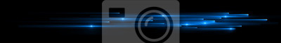 Obraz Dynamic lights shape on dark background. Bright luminous glowing lines. High speed optical fiber concept. 3d rendering