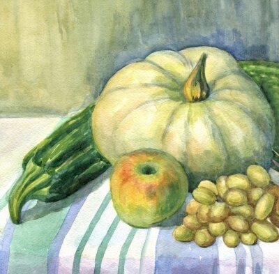 Obraz Dynia, jabłko, cukinia, winogrona, martwa natura. akwarela