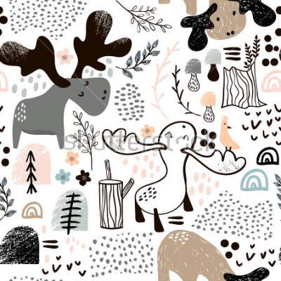 Obraz Dziecięcy bezszwowy wzór z łosiami w drewnianych i abstrakcjonistycznych kształtach. Modny skandynawski tło wektor. Idealny do odzieży dziecięcej, tkanin, tekstyliów, dekoracji dziecinnych, papieru do