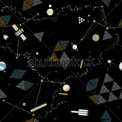 Obraz Dziecko bezszwowy wzór - przestrzeń, statki kosmiczni i planety z gwiazdami. Modny dzieciaka wektoru tło.