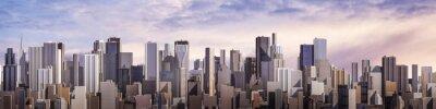 Obraz Dzień panorama miasta / 3D render nowoczesnego miasta w ciągu dnia pod jasnego nieba