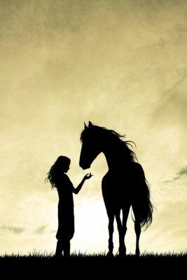 Obraz Dziewczyna i koń sylwetka