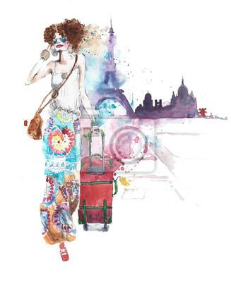 Dziewczyna młoda dama młoda kobieta na wakacje podróżując z bagażem pieszą akwareli ilustracji samodzielnie na białym tle