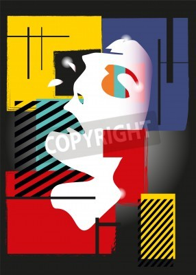 Obraz Dziewczyna w stylu kubizmu. Kwadraty, farby, czarne tło