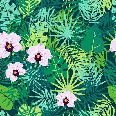 Obraz Dżungla szwu z tropikalnych liści i orchidei.