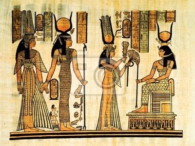 Egipski papirus, oferujący Faraon