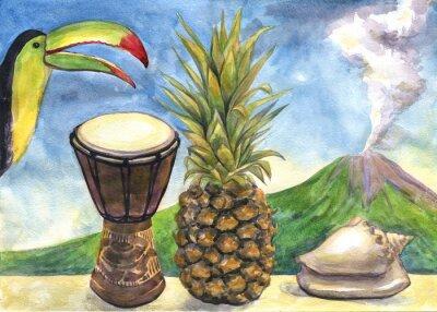 Obraz Egzotyczne martwa. akwarela. Ananas, bęben, Tukan, muszli morskich, Wulkan
