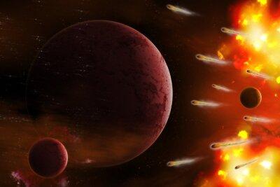 Obraz Eksplozja przestrzeni / Eksplozja przestrzeni z komety atak planety. Cyfrowy retusz.