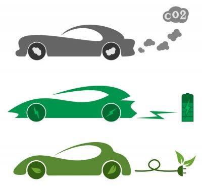 Obraz Elektryczne i benzynowych samochodów
