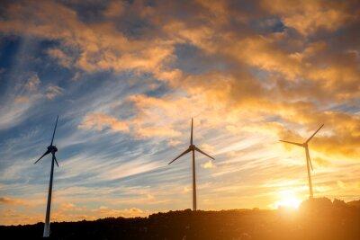 Obraz Elektryczne wiatraki na tle nieba o zachodzie słońca