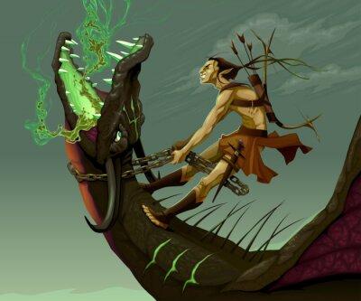 Obraz Elf jest jazda smoka