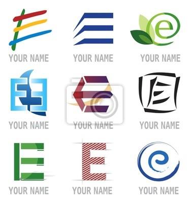 Obraz Ensemble d'Icones Lettre E wlać projekt Logos