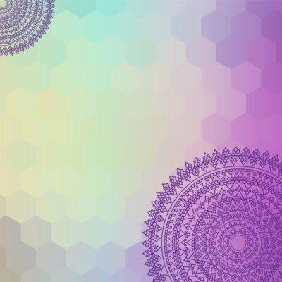 Obraz Etniczne i kolorowe Henna Mandala, bardzo skomplikowane i łatwo edytowalne