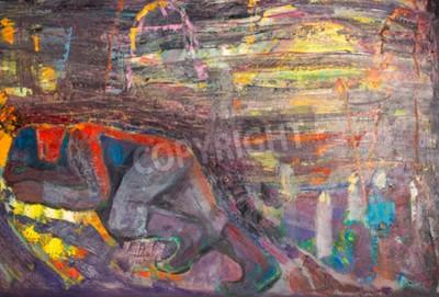 Obraz Etnografia, M.Sh. Khaziev. Czczony Artysta Tatarstanu. Obraz namalowany w olejach. człowiek śpi