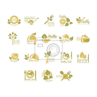 Obraz Etykiety ekologiczne, zdrowe Eco Food. Wektor Zestaw