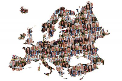 Obraz Europa Karte Menschen junge Leute Gruppe Integracja multikultur
