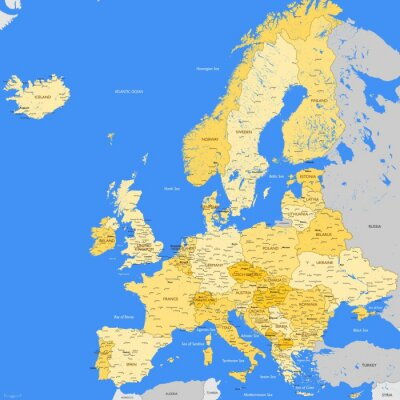 Obraz Europa mapa miasta