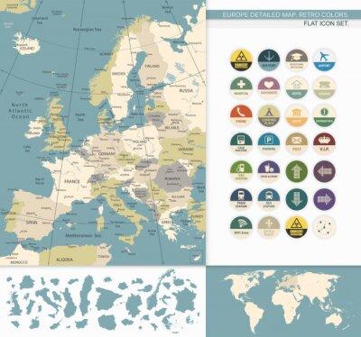 Obraz Europa szczegółowe map.Retro Kolory