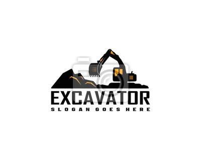 Obraz Excavator logo template vector. Heavy equipment logo vector for construction company.