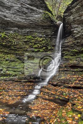 Excelsior Glen Lower Falls Autumn - near Watkins Glen, New York