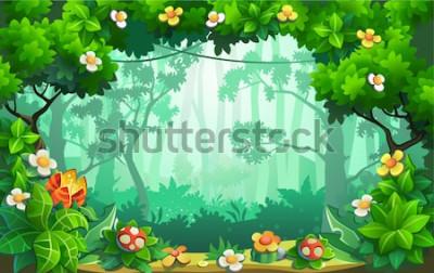 Obraz Fantastyczny las kwiatów, bajeczna dżungla, tropik. Tło wektor.