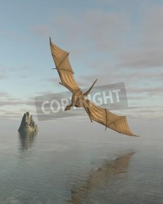 Obraz Fantasy ilustracja smoka lecącego nisko nad spokojnym oceanie w świetle dziennym, 3d cyfrowo świadczonych ilustracji