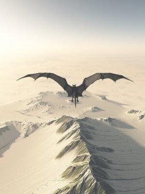 Obraz Fantasy ilustracja szary smok latający nad pasmo górskie pokryte śniegiem, 3d cyfrowo świadczonych ilustracji