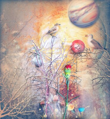 Obraz Fantasy krajobraz z zaklętym drzewa, ptaki i czerwonego goździka