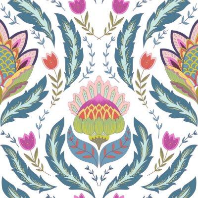 Obraz Fantasy kwiaty bez szwu deseń. Klasyczne ornament na białym tle