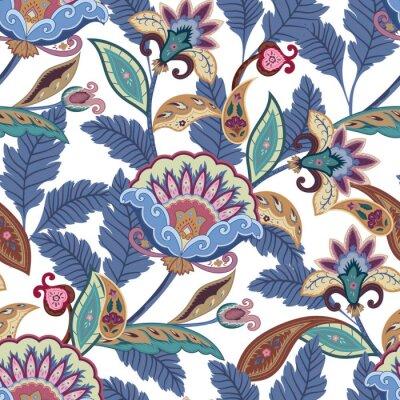 Obraz Fantasy kwiaty bez szwu paisley wzór. Kwiatowy ornament na tkaninie, owijanie, tapety